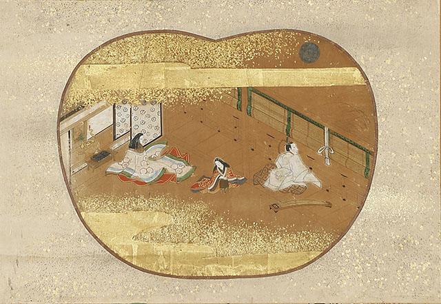 江戸前期物語絵 月見弾琴図