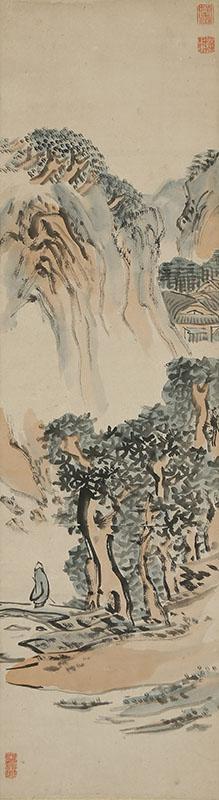山水人物図