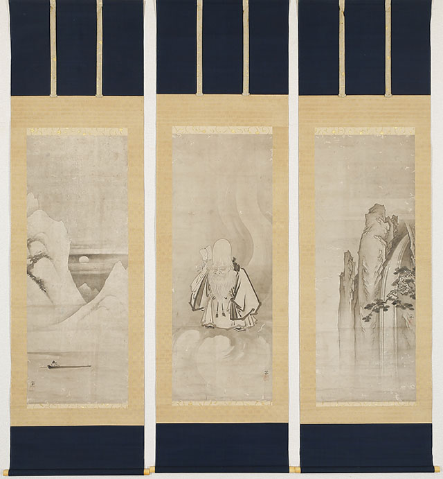 Fukurokuju on a Cloud (3 scrolls)
