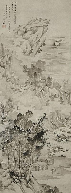月下訪猿図自画賛(宝暦12年)「高遊外老師清鍳」