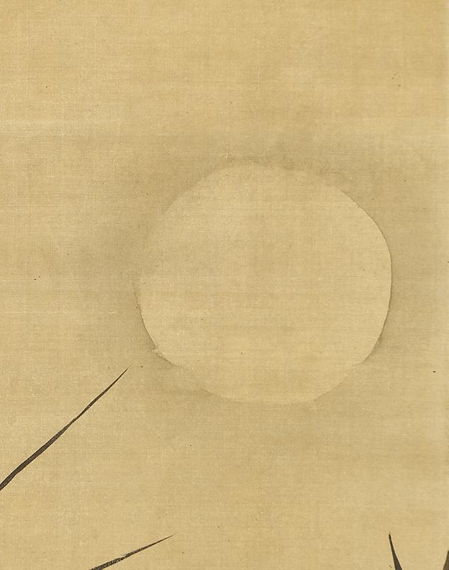 月下蘭石図自画賛