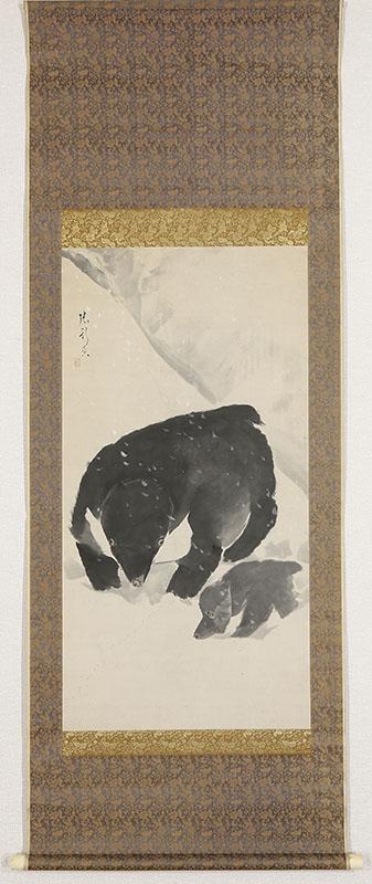 雪中親子熊之図