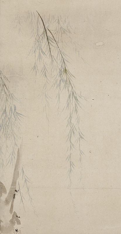 柳に蝉の画賛「肥後の国にて何かし会に 初こえやしめりに居へし蝉の足」