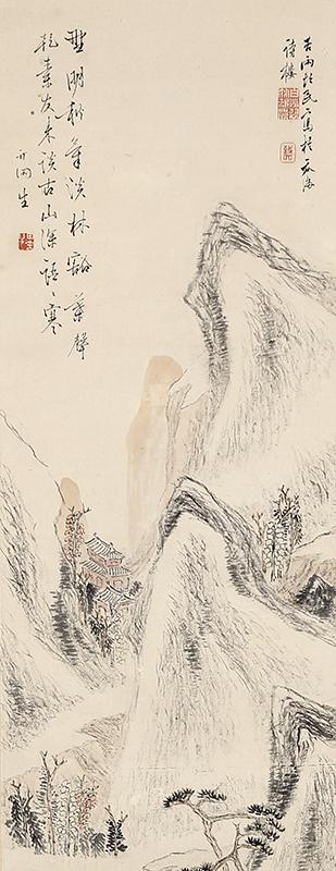 秋景山水図