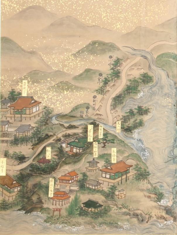 親鸞聖人二十四輩寺院并関東御旧跡図屏風