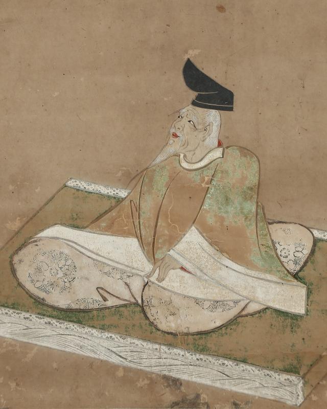 柿本人麻呂像「ほのほのとあかしの浦の朝霧に 嶋かくれ行舟をしそおもふ」
