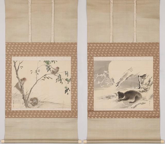 雪中黒熊 猿栗図