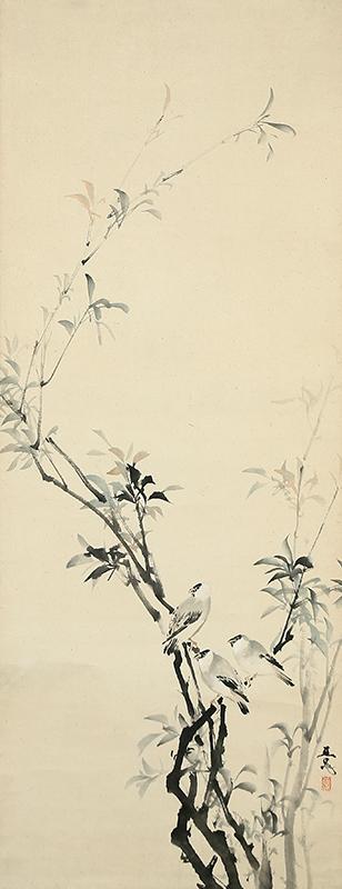 楊柳小禽図